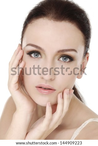 Image with beautiful fresh skin girl close-up - stock photo