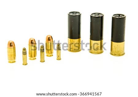 Image with shotgun shells and handgun ammunition  including .22, .45 and 12 gauge calibers - stock photo