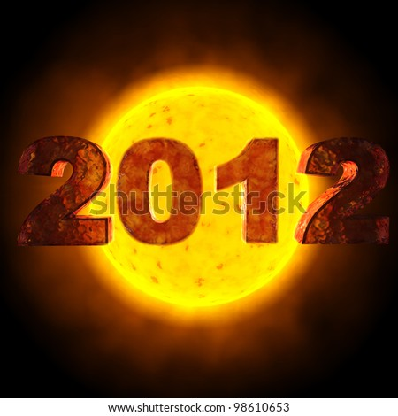 image with the date of 2012 - behind the date is the sun - stock photo