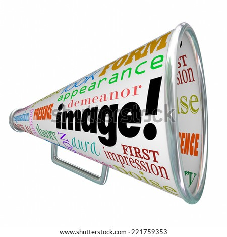 Image word on a megaphone or bullhorn to illustrate making a good first impression with a positive impression - stock photo