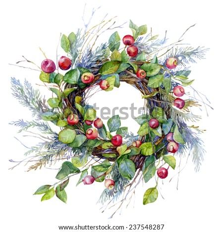 Image wreath of twigs with green leaves and red small apples and berries. Woven decorative branches arborvitae , which gives the product the character of Christmas. - stock photo