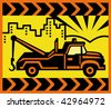Imagery shows an icon of a Vintage Tow truck with buildings and mountains in the background. - stock photo