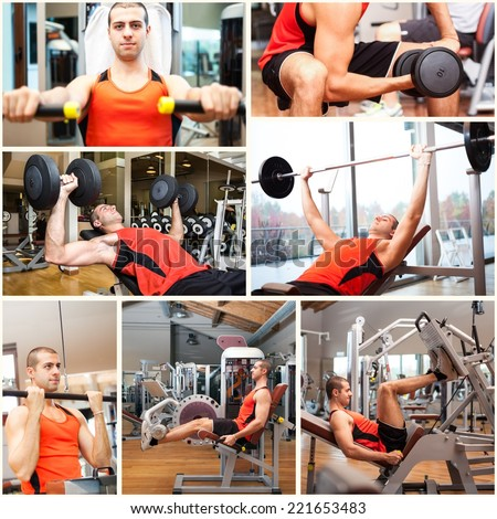 Images of a man working out in a fitness club - stock photo