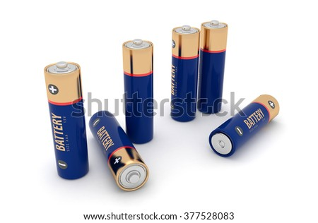 Images of batteries isolated on a white background. 3d render - stock photo