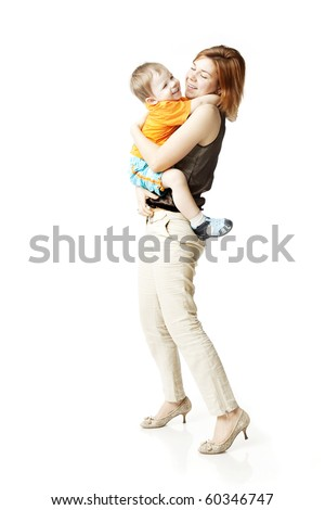 Images of happy mother with a child on a white background - stock photo
