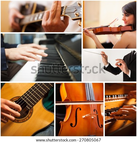 Images of people playing musical instrument - stock photo