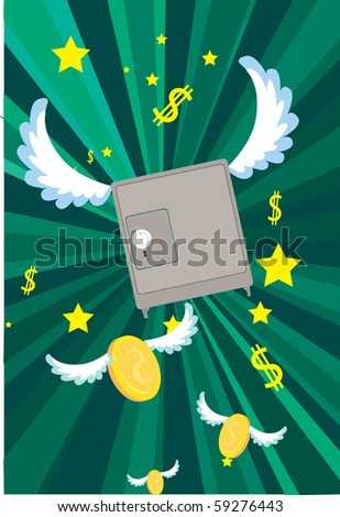 Images that are safe to float mid-air with the enormous amount of money and gold. - stock photo