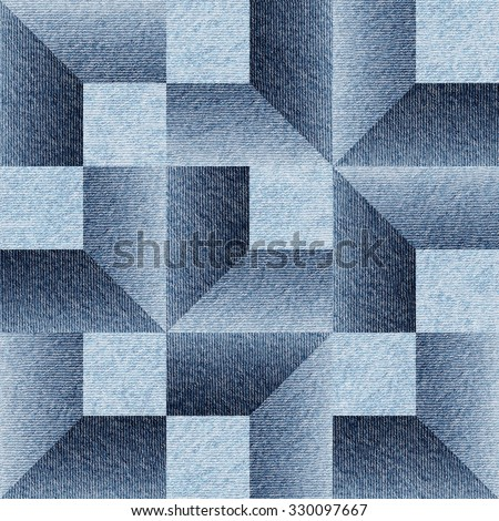 Imaginary decorative pattern - Interior Design wallpaper - Continuous replication - geometric shapes - design background - blue jeans texture - stock photo