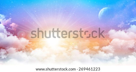 Imaginary panoramic sunrise. High resolution sunny sky background, star field and planet in deep space. - stock photo