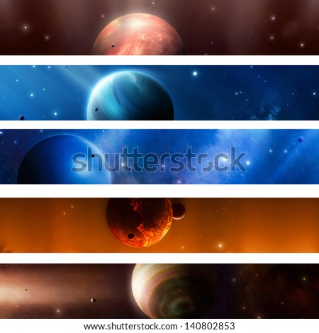 Imaginary planets moons stars nebula in space - stock photo