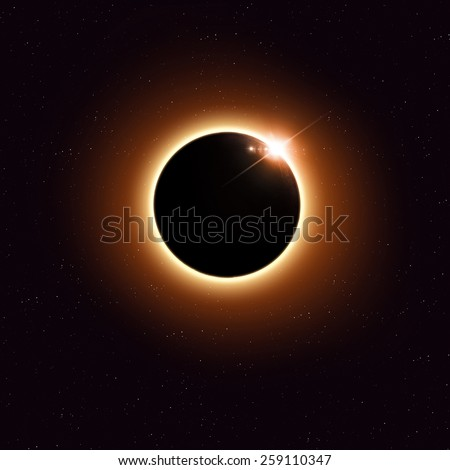 imaginary solar eclipse space red image with stars and lights - stock photo