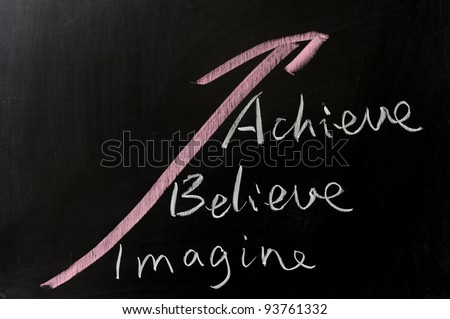 Imagine, believe and achieve - conceptional chalk drawing - stock photo