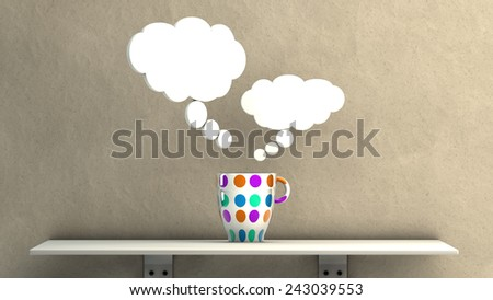 imagine concept illustration of a bowl on a shelf - stock photo