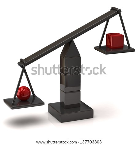 Imbalance concept. Black scales with red sphere and cube. - stock photo