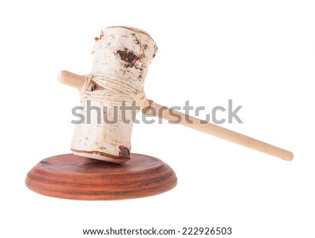 Imitation of Judge Gavel and the Soundboard from the Side View - stock photo