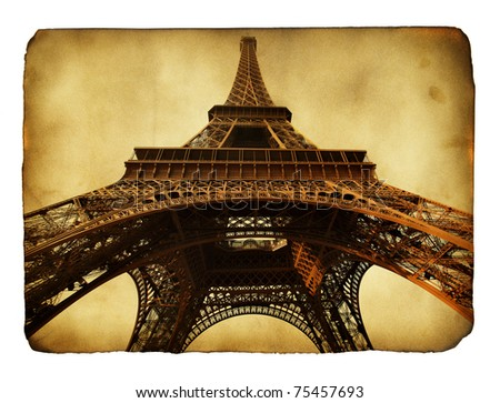 Imitation of vntage postcard with Eiffel tower - stock photo