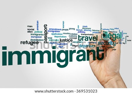 Immigrant word cloud - stock photo