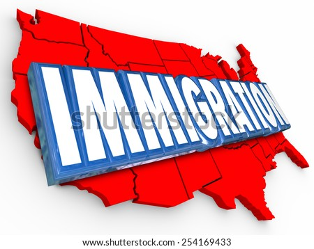 Immigration 3d word on red map of United States of America illustrating reform in status for legal residency or citizenship for aliens - stock photo