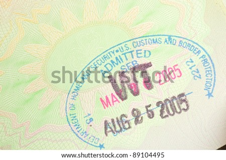 immigration stamp from USA homeland Security - stock photo