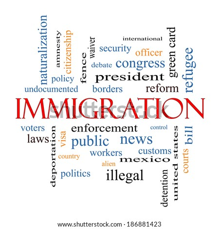 Immigration Word Cloud Concept with great terms such as reform, borders, alien and more. - stock photo