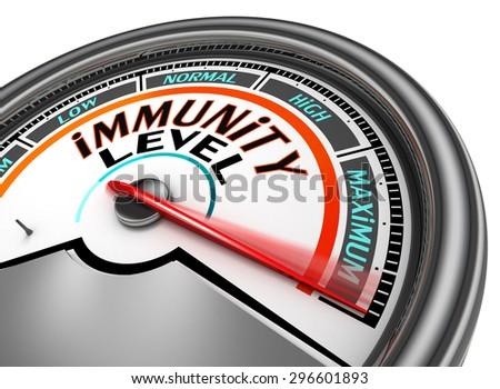 immunity conceptual meter indicate maximum, isolated on white background - stock photo