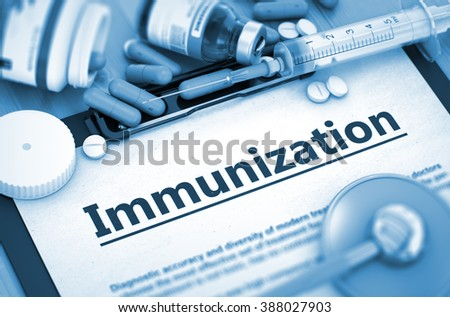 Immunization, Medical Concept with Pills, Injections and Syringe. Immunization - Composition of Medicaments - Pills, Injections and Syringe. Toned Image. 3D Render. - stock photo