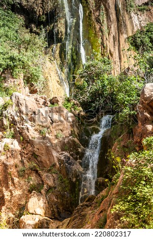 Imouzzer Cascades at summer - Waterfall near Agadir, Morocco - stock photo