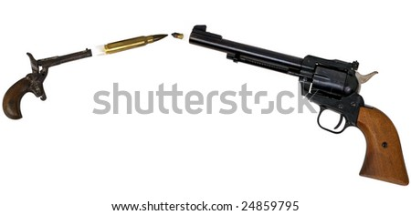 impact of bullets from two guns - stock photo