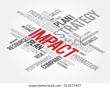 IMPACT Word Cloud, business concept background - stock photo
