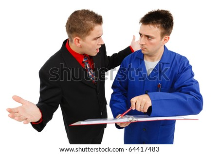 Impatient business man with open arms, talking to employee - stock photo