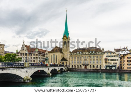 Imperial Abbey of Fraumunster (Reichskloster Fraumunster), Limmat river, Zurich, Switzerland - stock photo