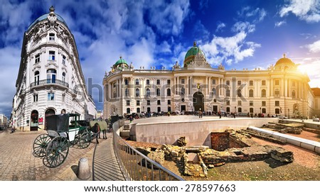 Imperial architecture in Vienna - Hofburg Palace - Austria.  - stock photo