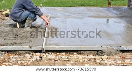 implementation of a concrete slab - stock photo