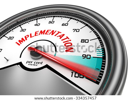 implementation to hundred per cent conceptual meter, isolated on white background - stock photo