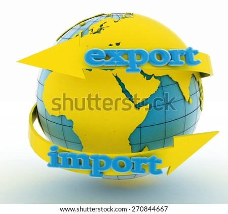 Import and export arrow around earth for business. Direction concept. 3d illustration on white background - stock photo
