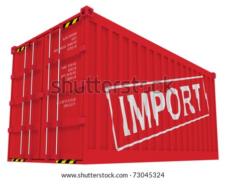 Import cargo container isolated on white - stock photo