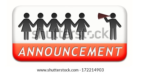 important announcement loudspeaker warning sign paper chain silhouette - stock photo