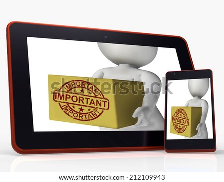 Important Box Tablet Showing Significant And High Priority Product Delivery - stock photo