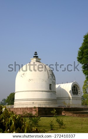 Important Buddha death statue or Reclining Visakha Puja Day religious holidays of Buddhism at Kushinagar Devriya India on place of Buddha  die (Parinibbana) one of the most Buddhist pilgrimage site - stock photo
