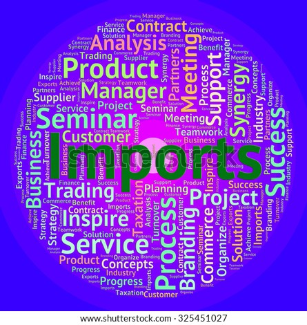 Imports Word Indicating Buy Abroad And Wordclouds - stock photo