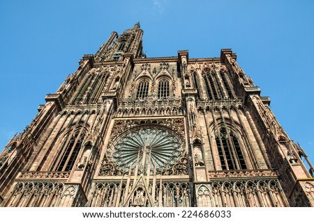 Imposing Strasbourg cathedral in France. - stock photo
