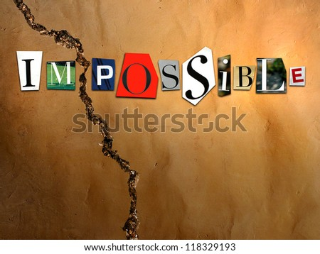 impossible and crack - stock photo