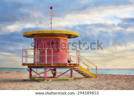 Impressionist art of life guard station on South Beach Miami Florida USA - stock photo