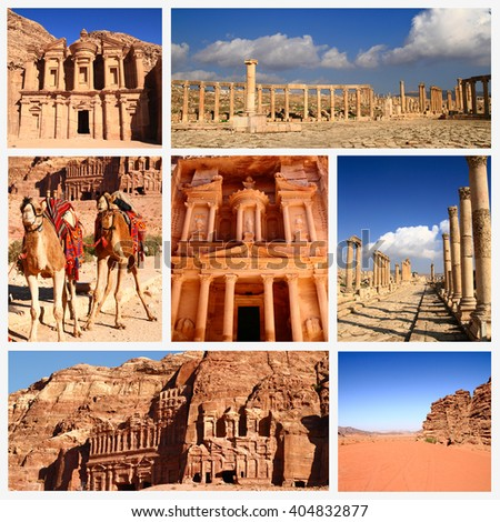 Impressions of Jordan, Collage of Travel Images - stock photo