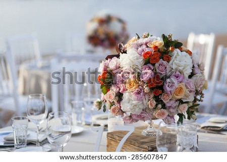 impressive and beautiful wedding set up - stock photo