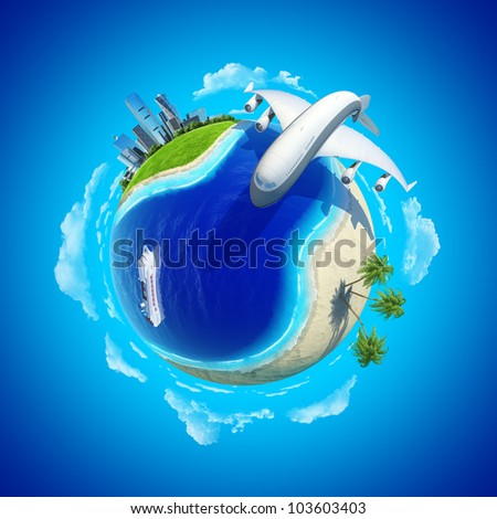 Impressive big plane rounding the globe. Mini planet concept. City center and tropical beach on the opposite sides.Cruise liner in the ocean. Travel and business concept. Earth collection. - stock photo