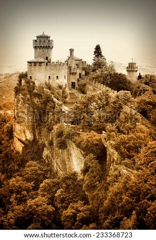 impressive castle on rock, San Marino, Italy - stock photo