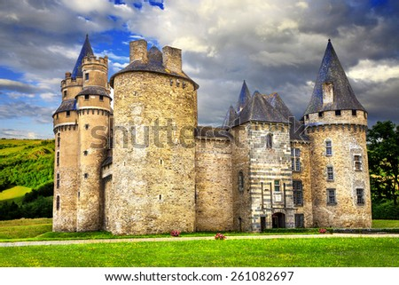 impressive medieval castles of France (Dordogne) - stock photo