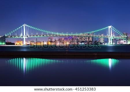 Impressive scene of the Tokyo Rainbow Bridge - stock photo