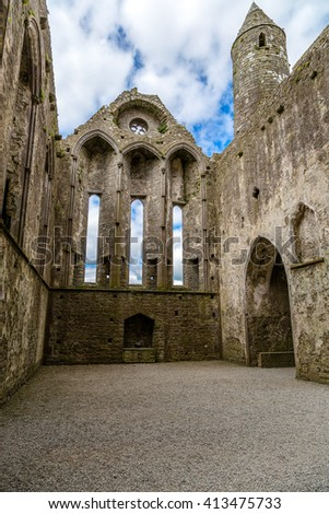 Impressive transept in the Rock of Cashel Cathedral, Ireland - stock photo